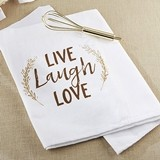 "Kate Aspen ""Live, Laugh, Love"" Tea Towel and Whisk"
