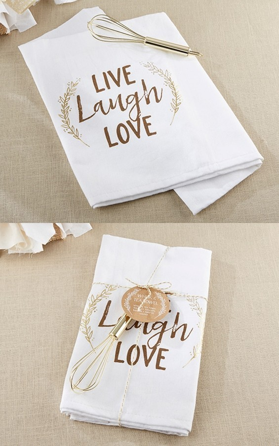 """Kate Aspen """"Live, Laugh, Love"""" Tea Towel and Whisk"""