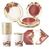 Kate Aspen Burgundy Blush Floral 78pc Party Tableware Set (16 Guests)