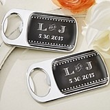 Personalized Silver Bottle Opener with Epoxy Dome - Chalk