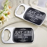 Eat, Drink & Be Married Personalized Epoxy-Domed Chrome Bottle Openers