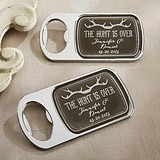 Personalized Silver Bottle Opener with Epoxy Dome - The Hunt Is Over