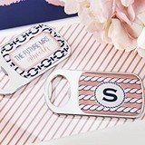 Nautical Bridal Shower Personalized Epoxy-Domed Chrome Bottle Openers