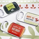 Rustic Birthday Personalized Epoxy-Domed Chrome Bottle Openers