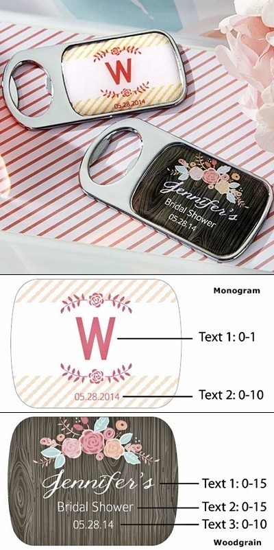 Rustic Bridal Shower Personalized Epoxy-Domed Chrome Bottle Openers