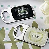 Personalized Epoxy-Domed Chrome Bottle Openers for Rustic Wedding