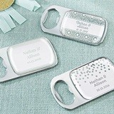 Silver Foil Designs Personalized Silver Bottle Opener with Epoxy Dome