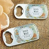 Personalized Silver Bottle Opener with Epoxy Dome - Travel & Adventure