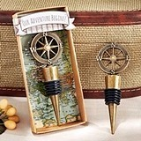 """Our Adventure Begins"" Metal Compass-Topped Bottle Stopper"