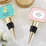 Kate Aspen Personalized Baby Shower Gold Bottle Stopper w/ Epoxy Dome