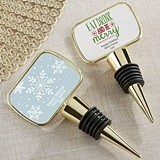 Holiday Designs Personalized Gold Bottle Stopper with Epoxy Dome