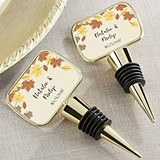 Fall Leaves Design Personalized Gold Bottle Stopper with Epoxy Dome