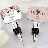 Personalized Gold Bottle Stopper with Epoxy Dome - English Garden