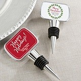 Holiday Designs Personalized Silver Bottle Stopper with Epoxy Dome