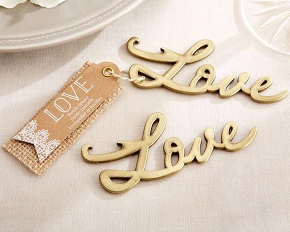 Kate Aspen Script Love Antique Gold Bottle Opener