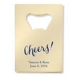 Personalized Cheers! Script Design Gold Credit Card Bottle Opener