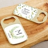 Personalized Gold Bottle Opener with Epoxy Dome - Botanical Garden
