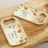 Personalized Gold Bottle Opener with Epoxy Dome - Fall Leaves Design
