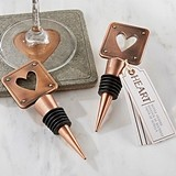 Kate Aspen Copper-Finish-Metal Heart Bottle Stopper
