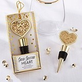 Kate Aspen Shining Gold Glitter Heart Bottle Stopper