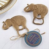 Kate Aspen Lucky Golden Elephant Antiqued-Metal Bottle Opener