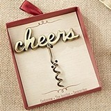 "Kate Aspen Script ""Cheers"" Antiqued-Gold-Metal Corkscrew"