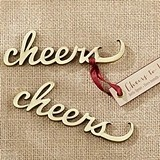 Kate Aspen Script 'Cheers' Antique-Gold-Metal Bottle Opener
