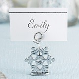 Kate Aspen Sparkling Silvered Snowflake Place Card Holders (Set of 6)