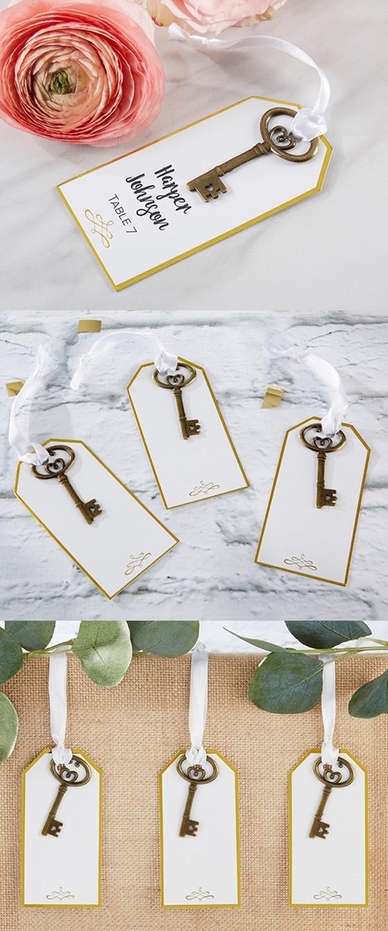 Kate Aspen Escort Cards with Antiqued Gold Vintage Keys (Set of 12)