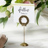 Kate Aspen Antiqued-Gold Laurel Standing Place Card Holders (Set of 6)