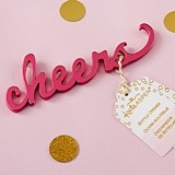 "Kate Aspen Script ""Cheers"" Pink Metal Bottle Opener"