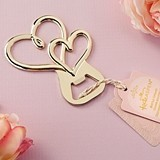 Kate Aspen Gold-Colored-Metal Double Heart Bottle Opener