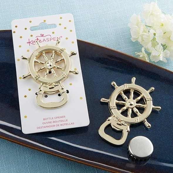 Kate Aspen Gold-Colored-Metal Nautical Ship Wheel Bottle Opener