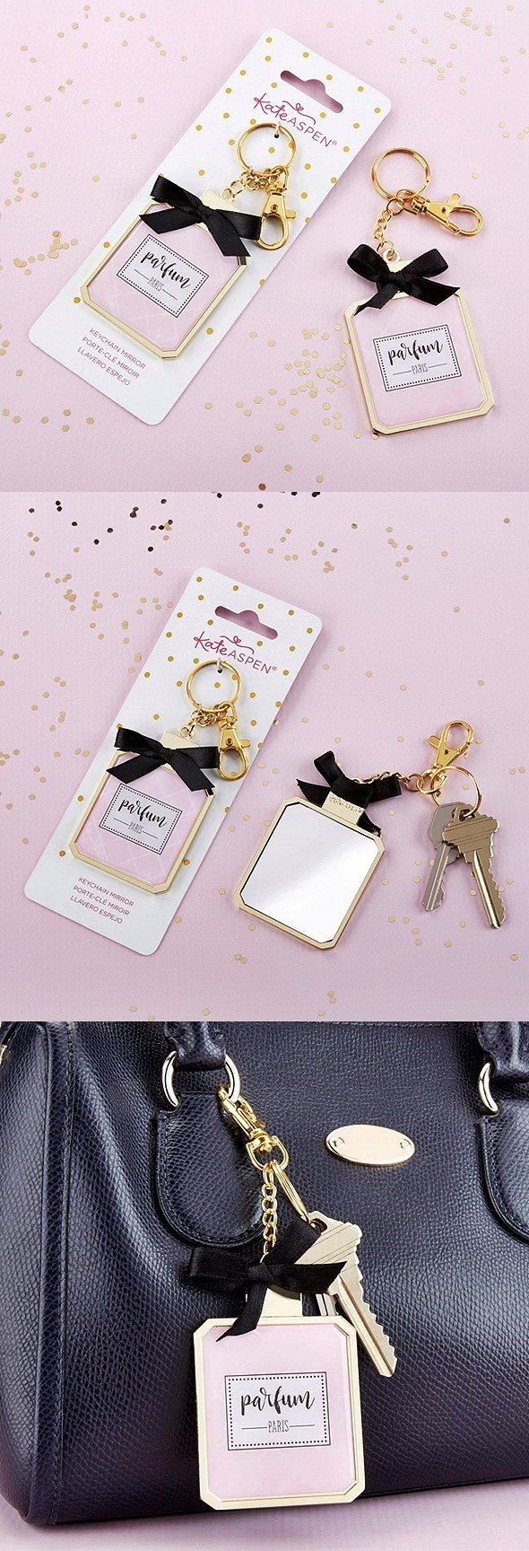 Kate Aspen French Perfume Bottle Design Keychain with Compact Mirror