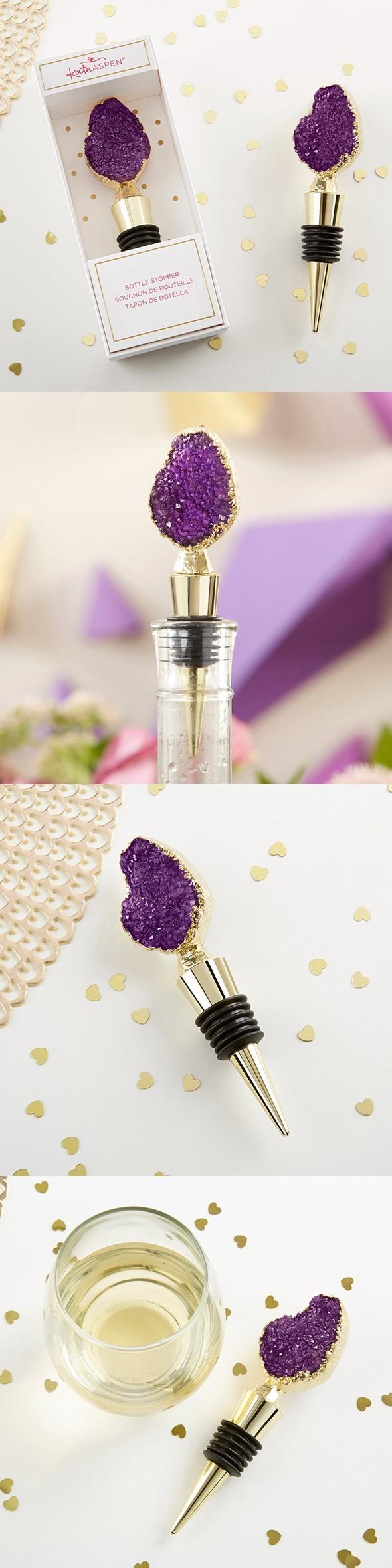 Kate Aspen Purple Druzy Geode-Topped Gold-Metal Bottle Stopper