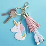 Kate Aspen Unicorn Charm USB Keychain with Pink Tassel