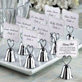 Elegant Silvered Lovebirds Wedding Bells/Placecard Holders (Set of 24)