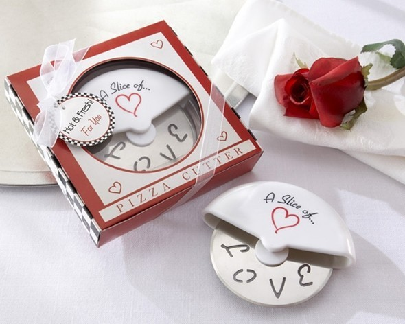 """A Slice of Love"" Stainless Steel Pizza Cutter in Pizza Box"