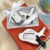 "Kate Aspen ""Bon Voyage"" Silver-Finish Airplane Luggage Tag"