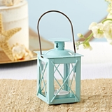 Kate Aspen Luminous Distressed Blue Mini-Lantern Tea Light Holder