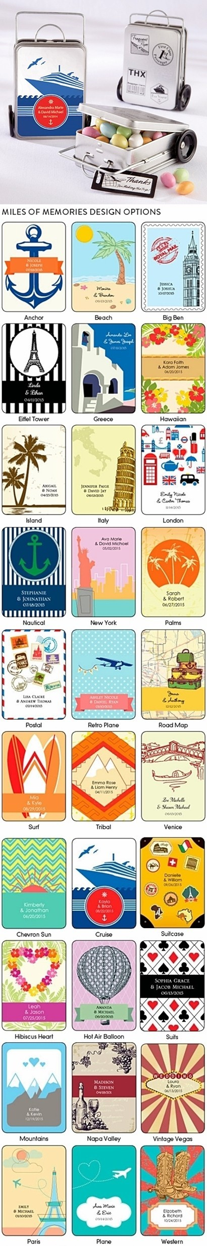 A Trail of Great Memories Personalizable Suitcase Tins (Set of 12)