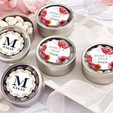Kate Aspen Personalized Silver Round Candy Tin - Botanical (Set of 12)