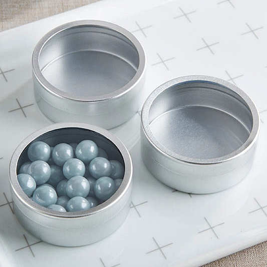 Kate Aspen DIY Silver-Metal Round Candy Tins w/ Clear Lids (Set of 12)