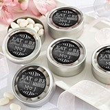 Eat, Drink & Be Married Personalized Round Candy Tins (Set of 12)