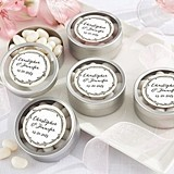 Rustic Branches Motif Personalized Clear-Lid Candy Tins (Set of 12)