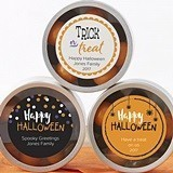Personalized Clear-Lid Candy Tins with Halloween Designs (Set of 12)