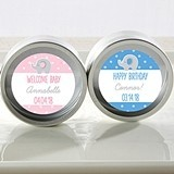 Personalized Little Peanut Design Silver Round Candy Tins (Set of 12)