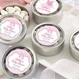 Kate Aspen Personalized Silver Round Candy Tin - Tutu Cute (Set of 12)