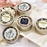 Kate Aspen Personalized Nautical-Theme Round Candy Tins (Set of 12)