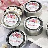 Personalized Rustic Bridal Shower Round Candy Tins (Set of 12)